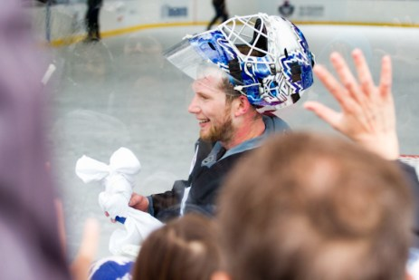 James Reimer throwing out goodies to the crowd.