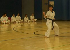 Rosemarie, doing another Karate stance for the intrigued audience.