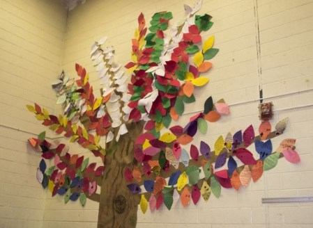 "Inspired by the ""Memorial"" book, each class at Glen Ames Senior Public School contributed a branch to the memorial tree. Students added leaves to the tree containing their written reflections on the act of remembrance"
