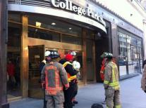 Firefighters on the scene of a fuel leak at College Street subway station.
