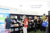 Festival-goers browse the books at the Author Solutions book gallery.