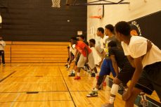 BTB Prep lines up on the baseline for conditioning drills.