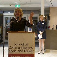 Ann Buller, president of the college delivers her speech.
