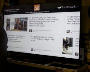 The Twitter wall for the night.