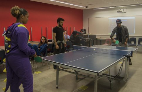 Ping-pong competitors with their game faces on