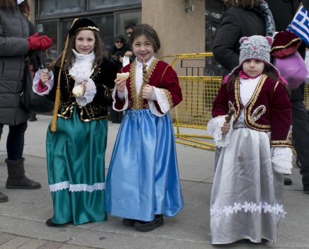 """From left to right, Efi Pappas, Magdalene Katsinos and Amanda Pappas. All three say their favourite part of the day was just """"walking the parade."""""""