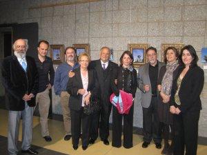 De izquierda a derecha: Agustín Martínez Tejeda, J.I.Díaz Bidart, Miguel Mur, D. Serapio Calvo y Sra., Elena Biurrun, Antonio Martos, Gádor Ongil y Rosa Rivet