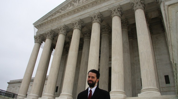 Professor Stephanos Bibas stands outside the Supreme Court:  Photo @ University of Pennsylvania