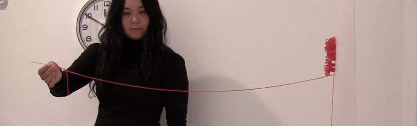 Chuyia Chia, A thread of red - sewing, Rostrum Gallery, Malmö Sweden, 2012, video by Chuyia Chia_web