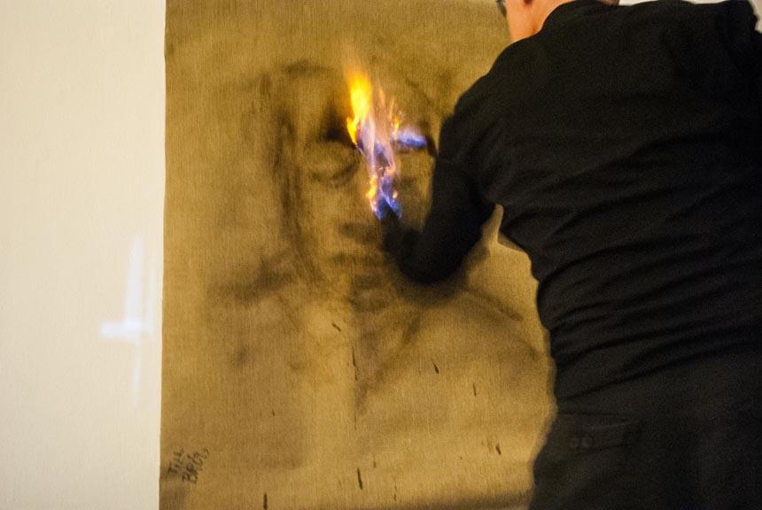 Joakim Stampe, 16 - Fire Painting (Till Bröd), Gallery Rostrum, Malmö Sweden, 2012_web