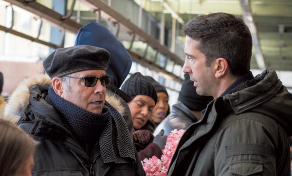 Clyde Phillips talks to AMC'sFeed the Beast star David Schwimmer. (photo by Ali Paige Goldstein/AMC)