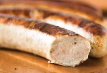 Smoked sausage from Karl Ehmer, distributed by Bosco Family Foods.
