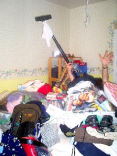 Woman Under Clutter