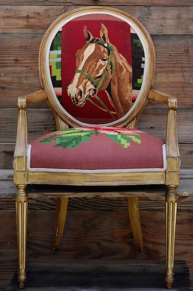 Vintage Horse Needlepoint U0026 Vintage Rose Textile Chair