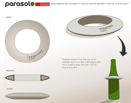 slnečník a plávajúce koleso pre pivo