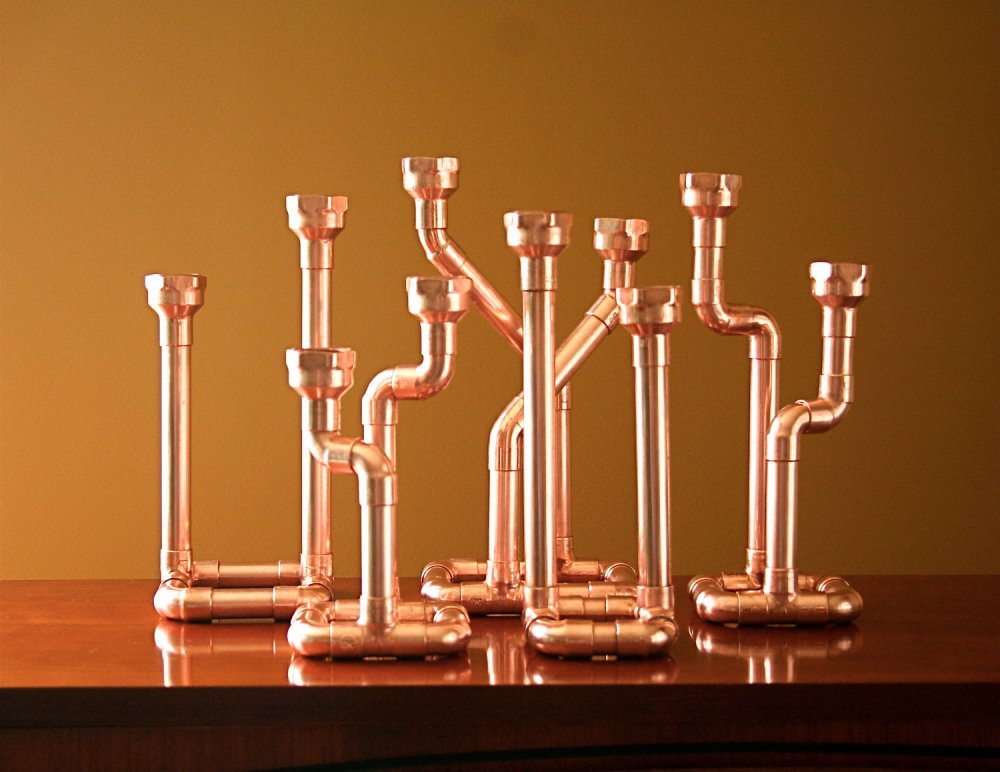 McGdesign Industrial Decor Copper Pipe Candlestick svietnik z medenych rur