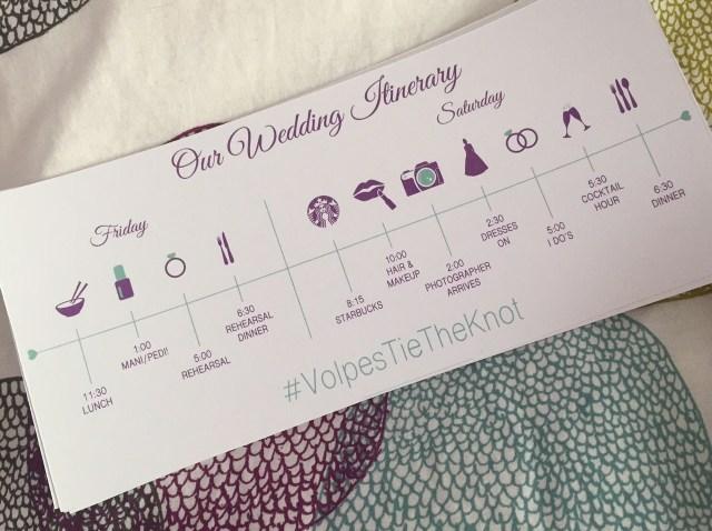 Bridal Itinerary