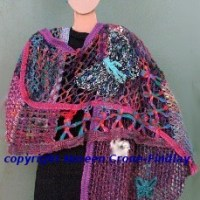 Fanciful freeform stole with Lily Speed-O-Weave motifs, crochet, spool knitting & inkle bands