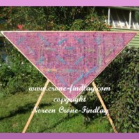 Dragonfly shawl woven on the triangle loom