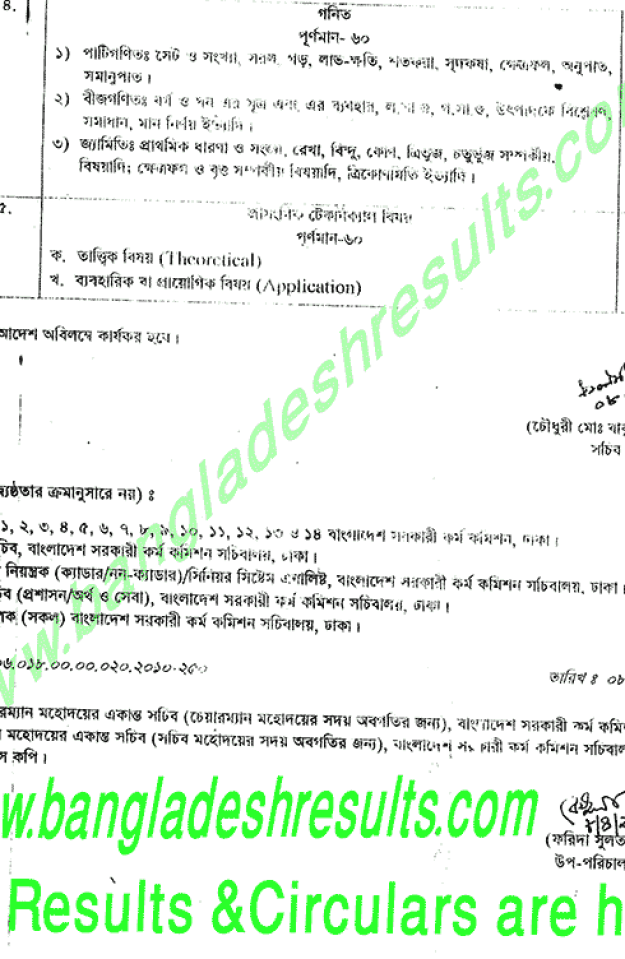 Written Exam Syllabus and exam detail for Non-Cadre 1st &2nd class technical and non-technical post