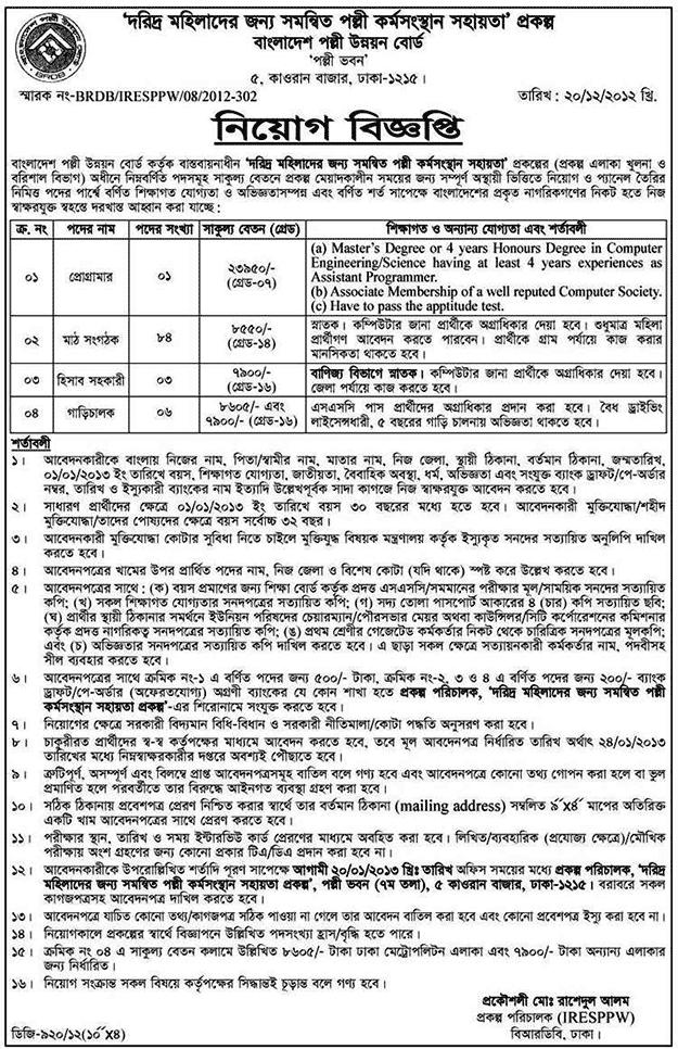 BRDB Job Circular|www.brdb.gov.bd