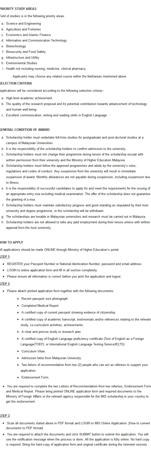 Malaysia International Scholarships for Foreign Students