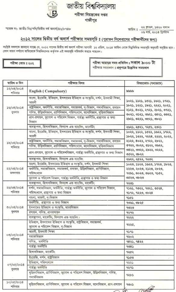 National University 2nd Year honours exam routine