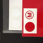 Logo on red and circles on white.  Always good to cut two in case one messes up.