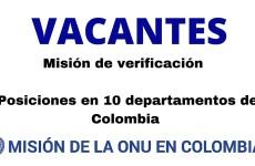 Vacantes de la misión de verificación de la ONU en 10 departamentos de Colombia