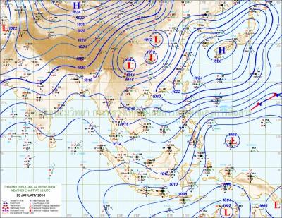 แผนที่อากาศในวันที่ประเทศไทย อากาศเย็นเกือบทั้งประเทศ