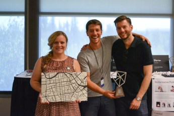 Team Tracktile with the Tracktile map and Award