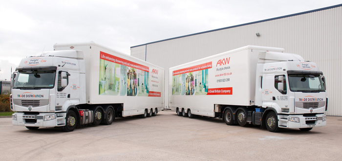 Image of Trade Distribution lorries and trailers used for AKW bespoke logistics service.