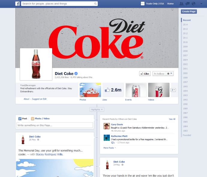 The Diet Coke Facebook Page