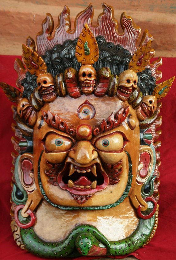 Mahakala wood-carved Mask