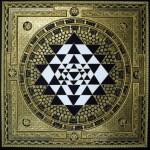 Sri Yantra Mandala Gold Black and White