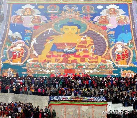 Great Buddha thangka Shoton Festival 2013