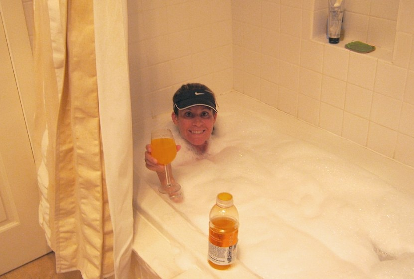 picture of carilyn johnson in a hot bath, not an ice bath