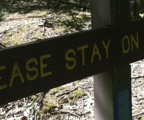 """""""PLEASE STAY ON THE TRAIL"""" sign"""