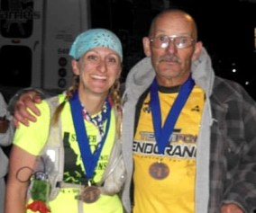 picture of emily at the finish of the pocatello 50 mile ultra marathon