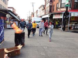 Flaming barrels galore! Photo by Loren Thomas