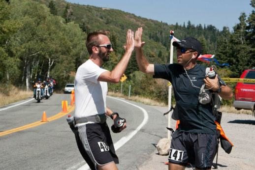 Runners giving a high 5 at the 2012 Wasatch 100