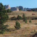 Mickelson Trail view of Crazy Horse statue in South Dakota