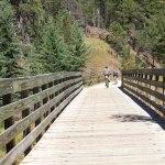bicycle riders on trail bridge