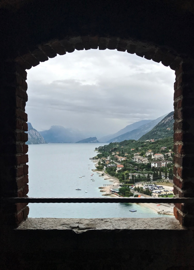View of Lake Garda from the top of Castello Scaligero's tower.
