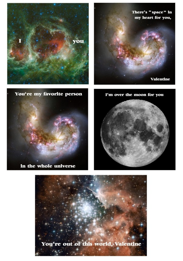 Free printable Valentine's Day space nebula science cards