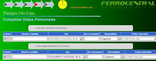 Completar datos personales para comprar boletos on line de Ferrocentral.