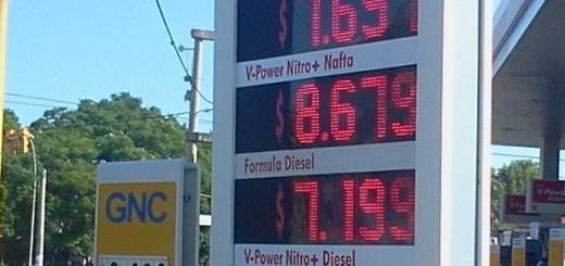 Precios en estacion Shell, zona norte de Córdoba, 22 de febrero.