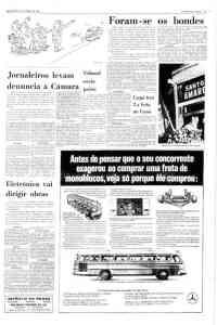 Na mesma página que ilustra a última viagem do bonde, propaganda de carrocerias de ônibus.