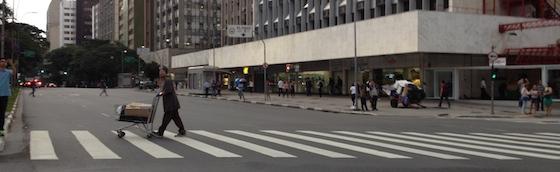 Avenida Faria Lima, livre durante o  5° Ato contra a Tarifa - 27/01/15