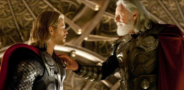 Chris Hemsworth and Anthony Hopkins as Thor and Odin